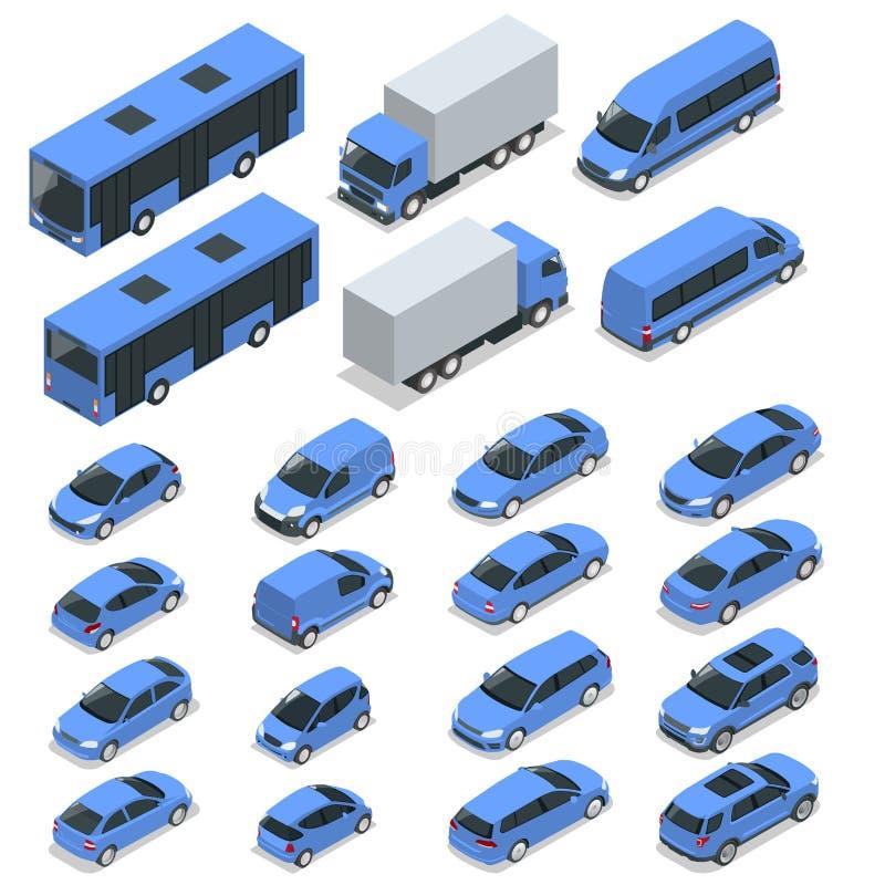 Vlakke isometrische hoogte - van de het vervoerauto van de kwaliteitsstad het pictogramreeks Auto, bestelwagen, ladingsvrachtwage stock illustratie