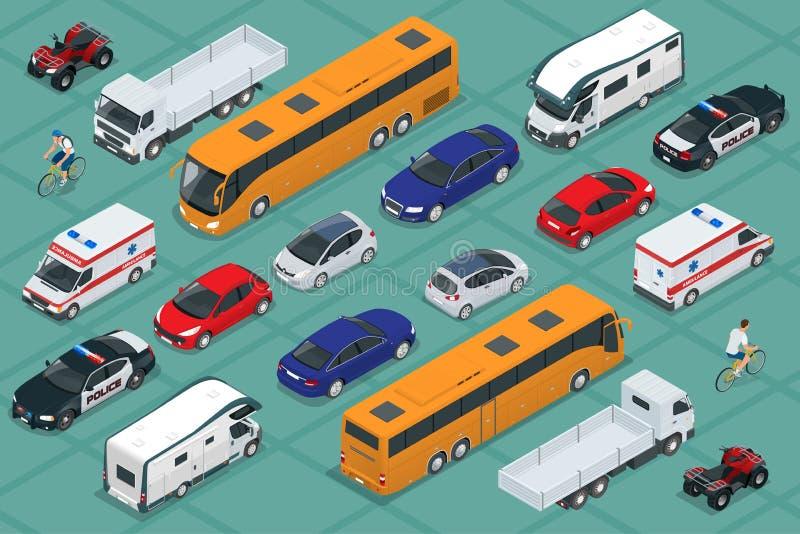 Vlakke isometrische hoogte - van de het vervoerauto van de kwaliteitsstad het pictogramreeks Stedelijk publiek en vrachtvervoer V vector illustratie