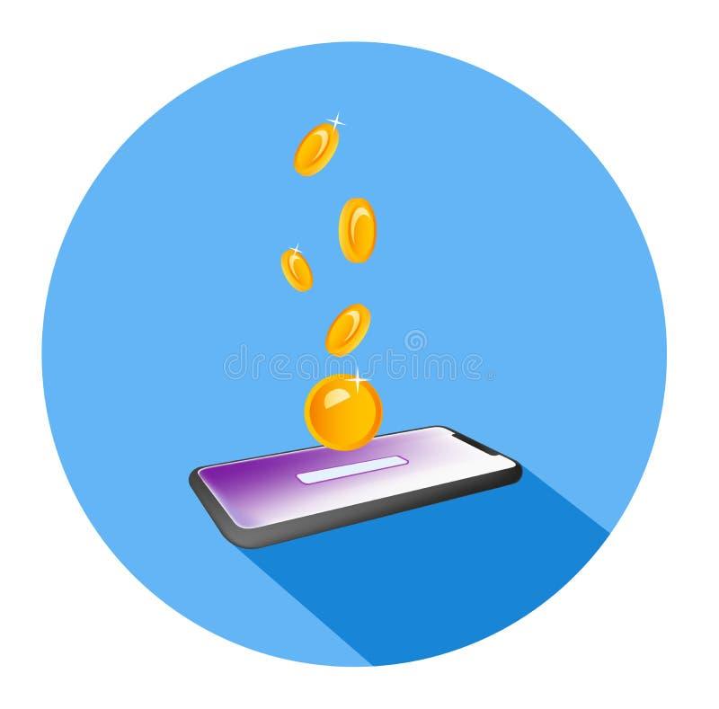 Vlakke isometrische illustratie van een muntstuk door het in een groef op het scherm van een mobiele telefoon te laten vallen Het stock illustratie