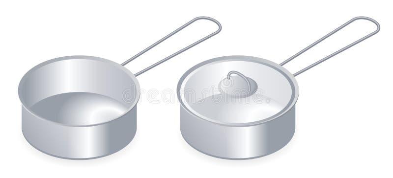 Vlakke isometrische illustratie van keukenpot, pan met deksel vector illustratie
