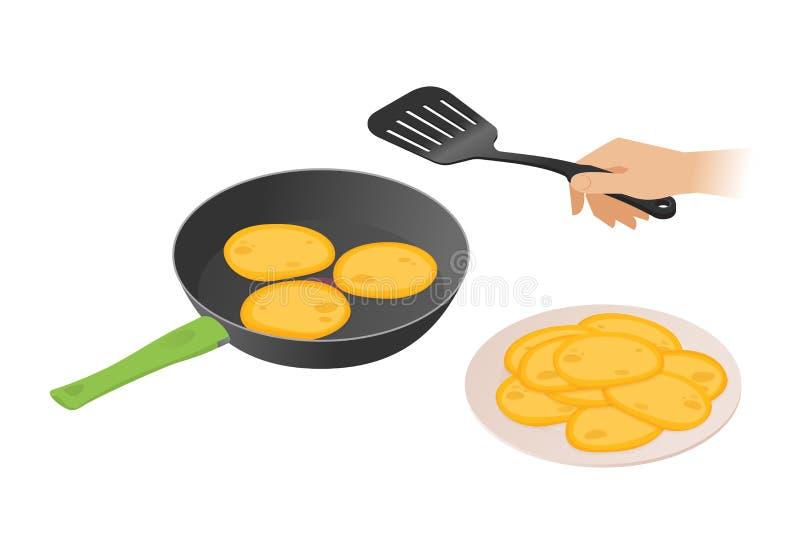 Vlakke isometrische illustratie van pan met pannekoeken, hand, spatel royalty-vrije illustratie