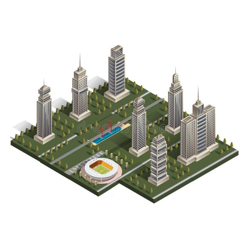 Vlakke isometrische kaart, landschapsstad, de bouwwolkenkrabber vector illustratie