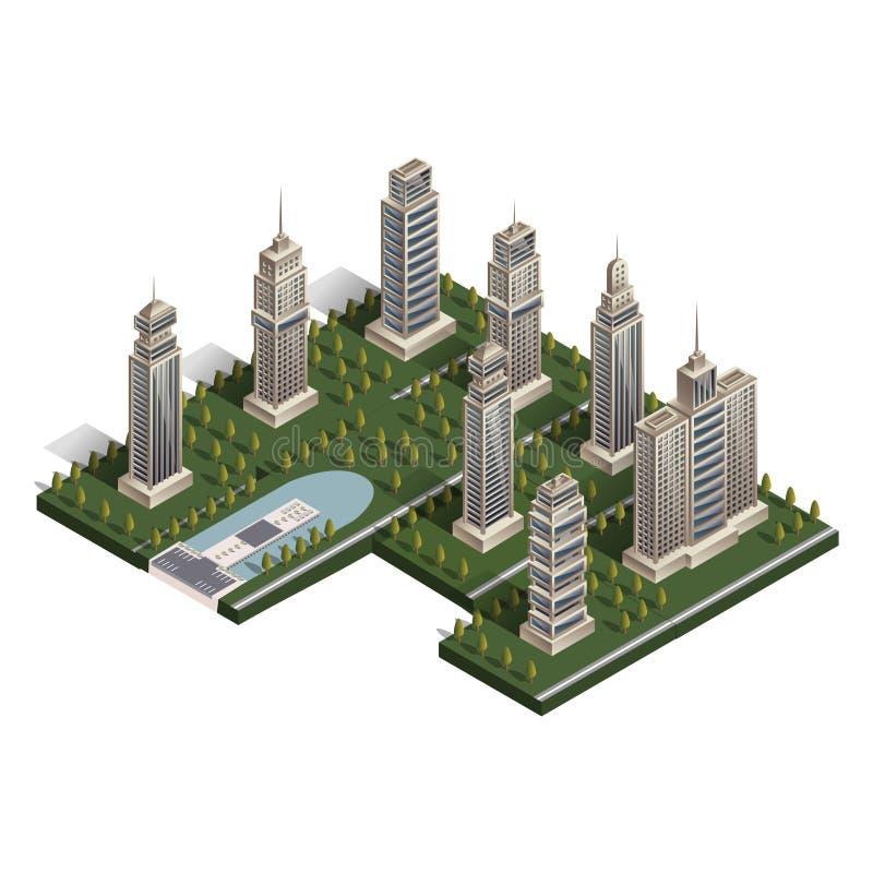 Vlakke isometrische landschapsstad, de bouwwolkenkrabber stock illustratie