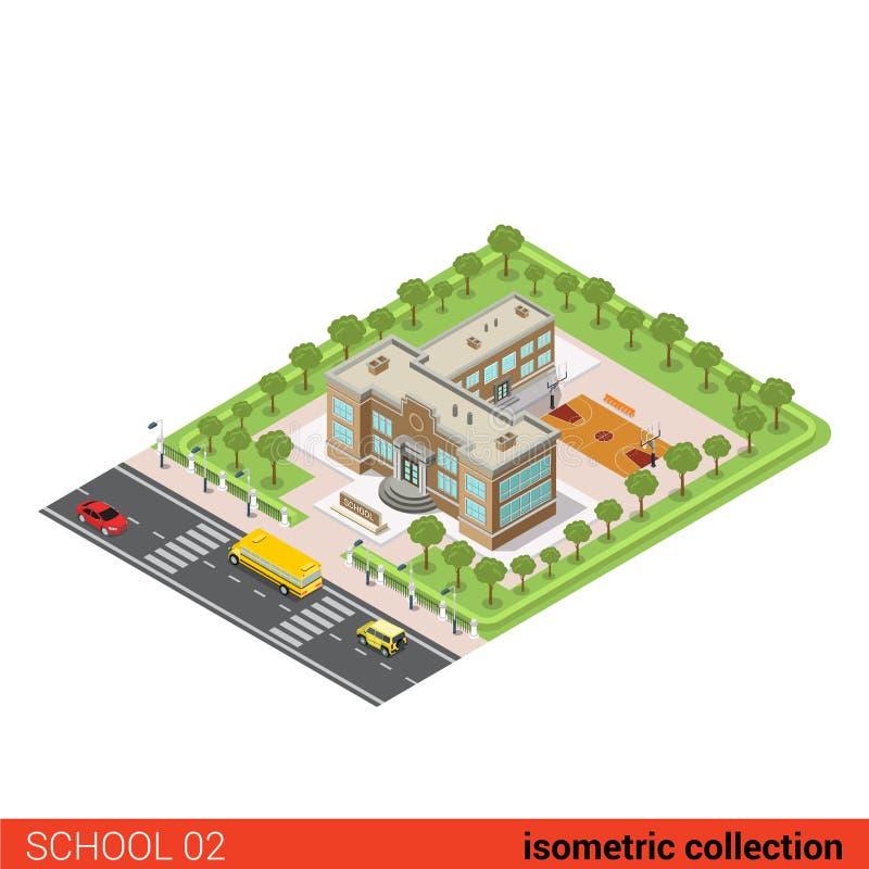 Vlakke isometrische school vectorillustratie vector illustratie