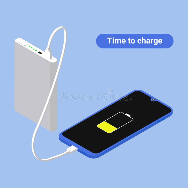 Vlakke isometrische Smartphone-verbinding met machtsbank via USB-kabel Vector 3d illustratie Isometry frameless telefoon vector illustratie