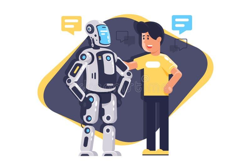 Vlakke jonge mens die aan robot met toespraakbel, robot en mensen spreken vector illustratie
