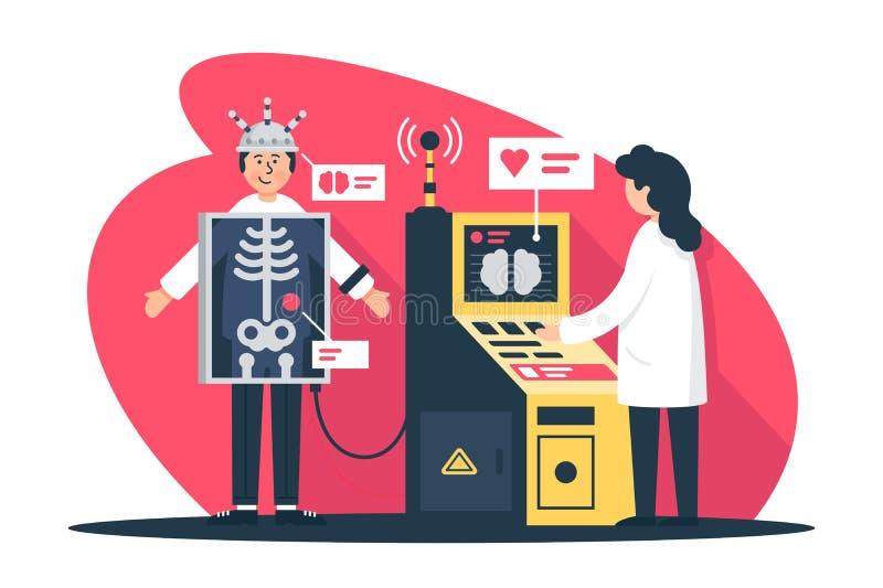 Vlakke jonge mens met radioloog arts met x-ray scanner bij kenmerkend royalty-vrije illustratie