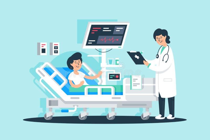 Vlakke jonge vrouw arts met tablet en pati?nt dichtbij medische apparatuur stock illustratie