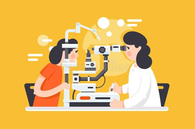 Vlakke jonge vrouw met optometrist arts met medische apparatuur stock illustratie
