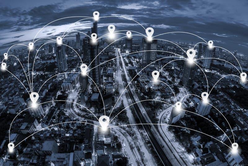 Vlakke kaartspeld en Netwerk bedrijfsconectionsysteem op blauwe toon royalty-vrije stock fotografie
