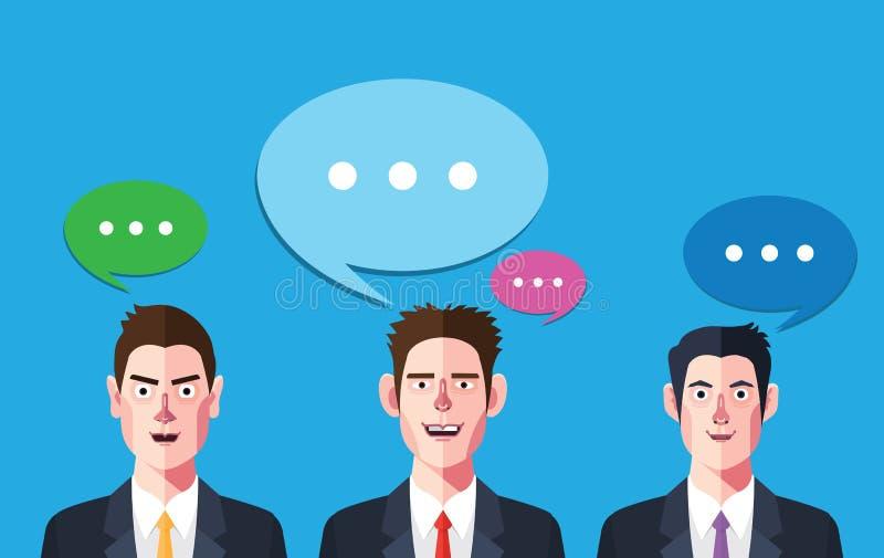 Vlakke karakters van de sprekende illustraties van het zakenmanconcept vector illustratie