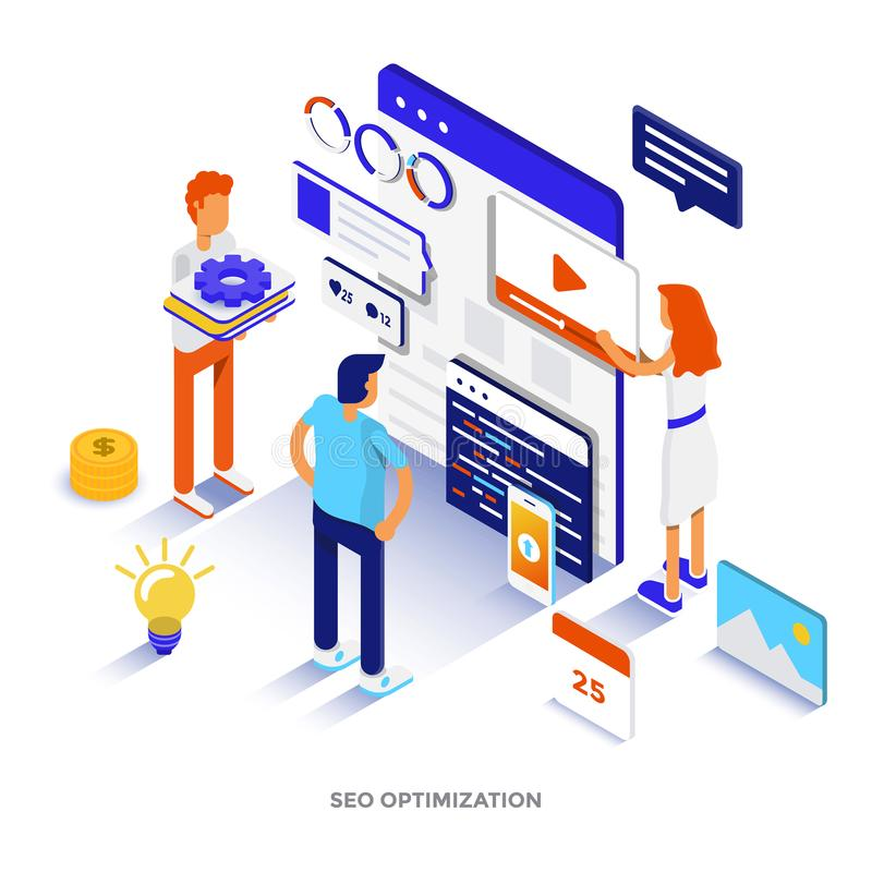 Vlakke kleuren Moderne Isometrische Illustratie - Digitale Marketing stock illustratie