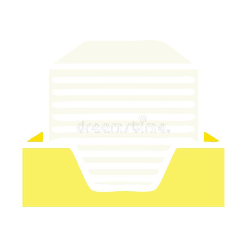 vlakke kleuren retro beeldverhaal gestapelde documenten vector illustratie