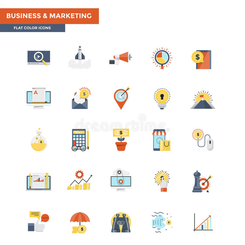 Vlakke Kleurenpictogrammen Zaken en Marketing stock illustratie