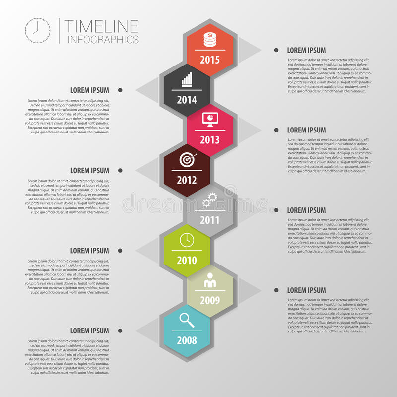 Vlakke kleurrijke abstracte chronologieinfographics Vector vector illustratie