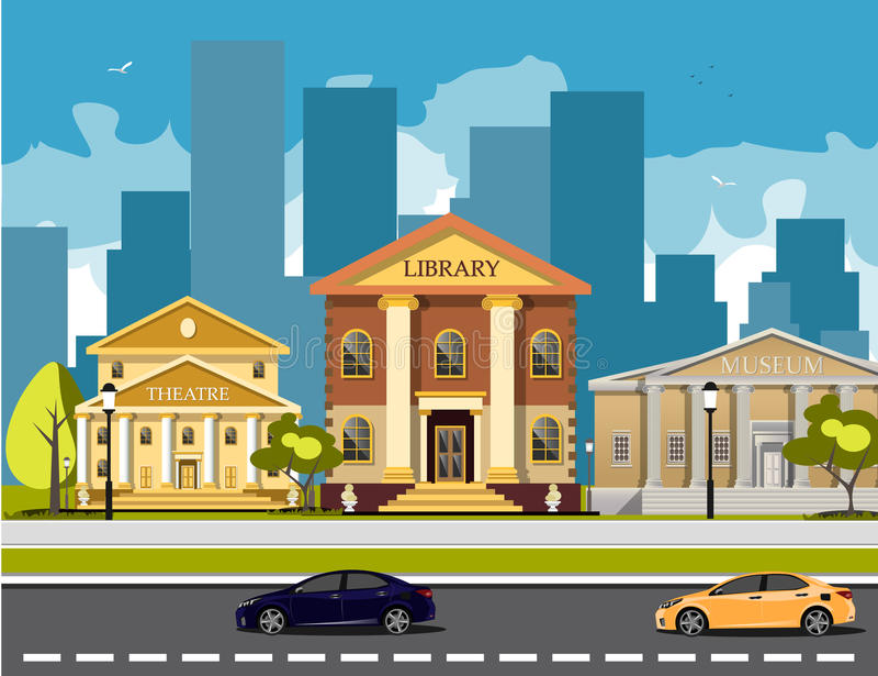 Vlakke kleurrijke geplaatste stadsgebouwen stock illustratie