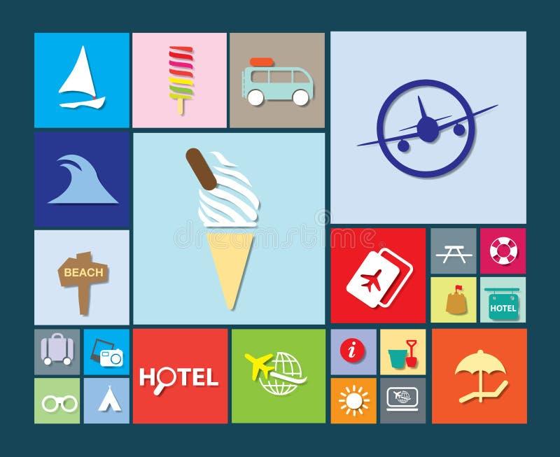 Vlakke kleurrijke vakantie, vakantie of strandpictogrammen stock illustratie