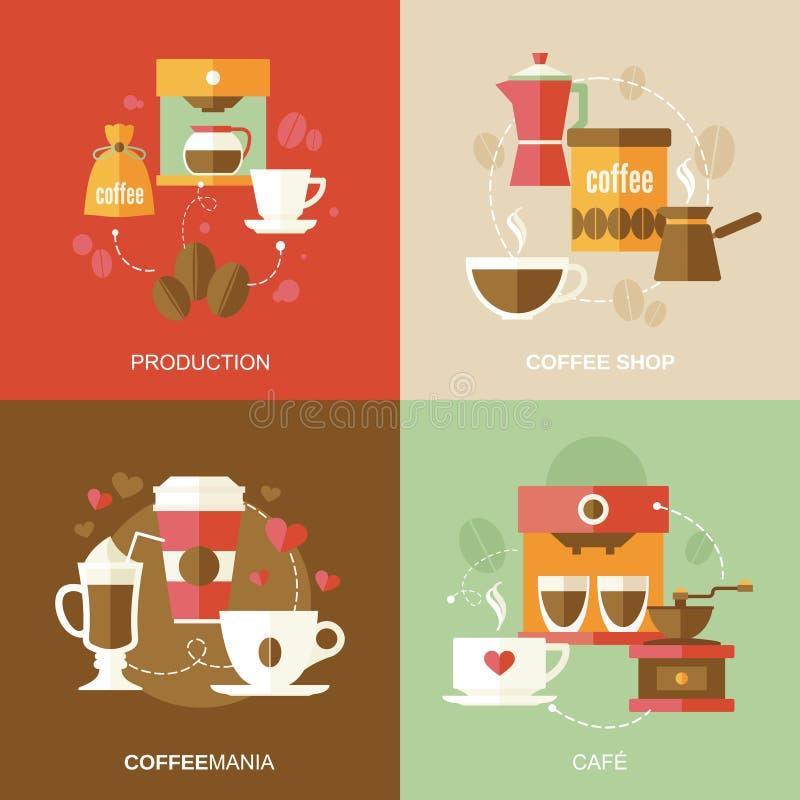 Vlakke koffiepictogrammen stock illustratie