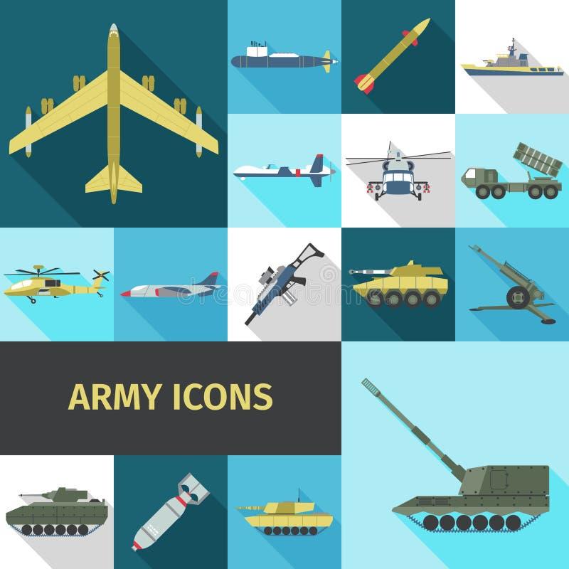 Vlakke legerpictogrammen stock illustratie