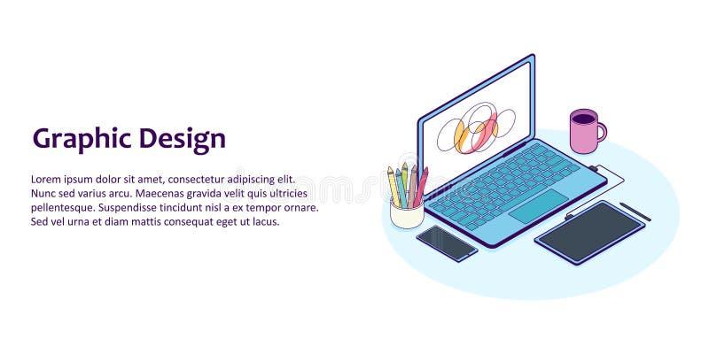 Vlakke lijn isometrische illustratie van ontwerperwerkplaats met computer en grafiektablet stock illustratie