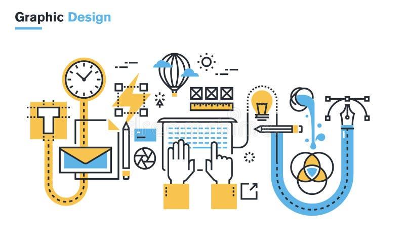 Vlakke lijnillustratie van grafisch ontwerpproces vector illustratie