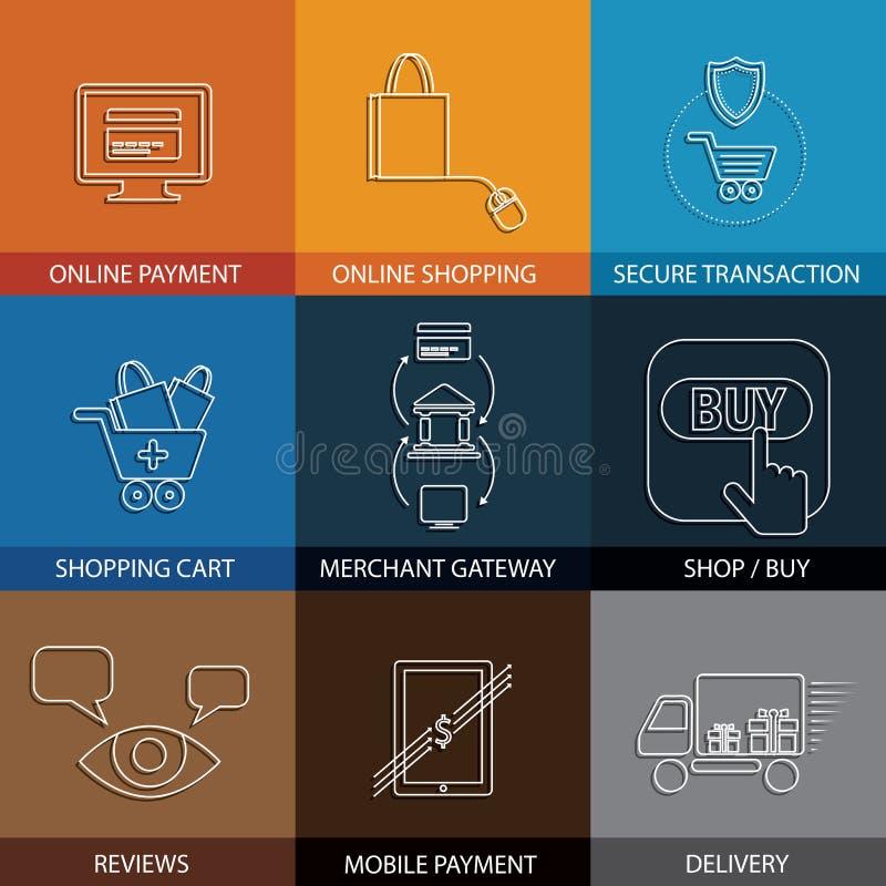 Vlakke lijnpictogrammen bij het winkelen, elektronische handel, m-handel - concept ve vector illustratie