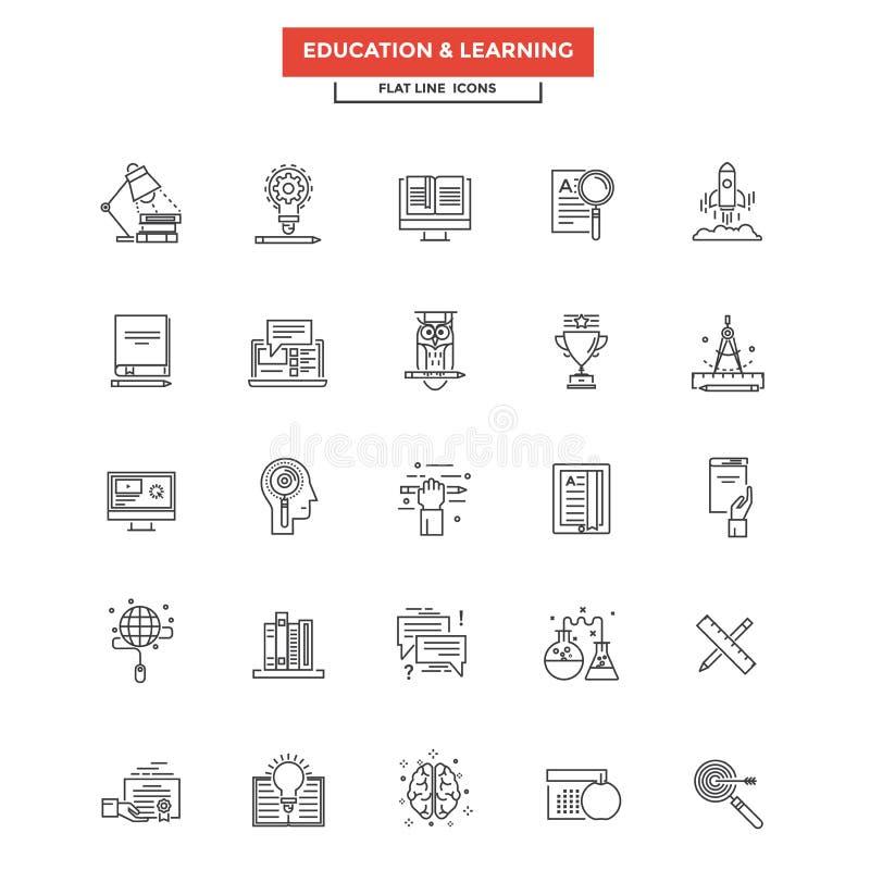 Vlakke Lijnpictogrammen - Onderwijs en het Leren royalty-vrije illustratie