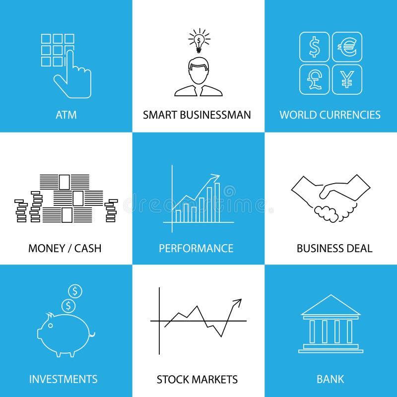 Vlakke lijnpictogrammen op financiën, geld, munten - conceptenvector royalty-vrije illustratie