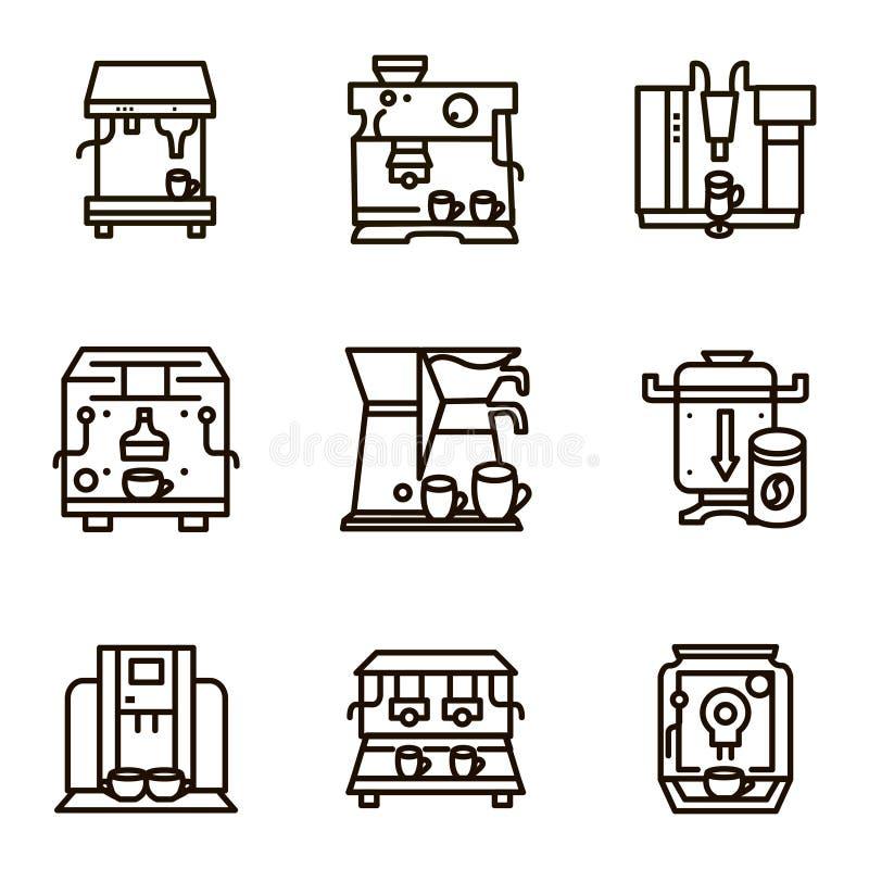 Vlakke lijnpictogrammen voor het verkopen van koffiemachines stock illustratie