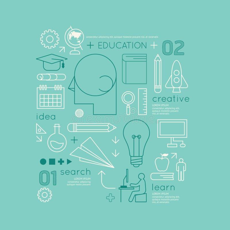 Vlakke lineaire Infographic-de Technologiegrafieken van het Onderwijsoverzicht royalty-vrije illustratie
