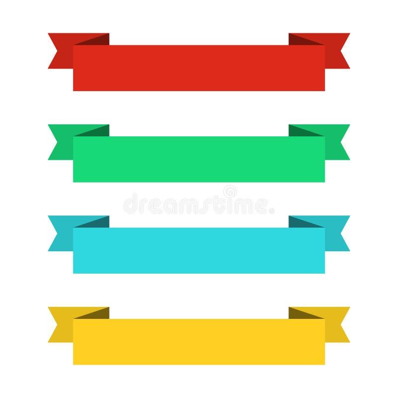 Vlakke lintenbanners Linten in vlak ontwerp Vectorreeks kleurrijke linten vector illustratie