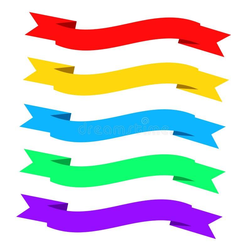 Vlakke lintenbanners Linten in vlak ontwerp Vectorreeks van colo royalty-vrije illustratie