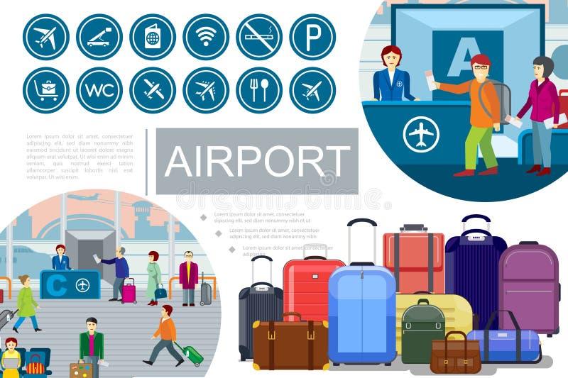 Vlakke Luchthavensamenstelling stock illustratie