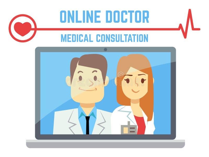 Vlakke mannelijke en vrouwelijke online arts, Internet-computergezondheidsdienst royalty-vrije illustratie