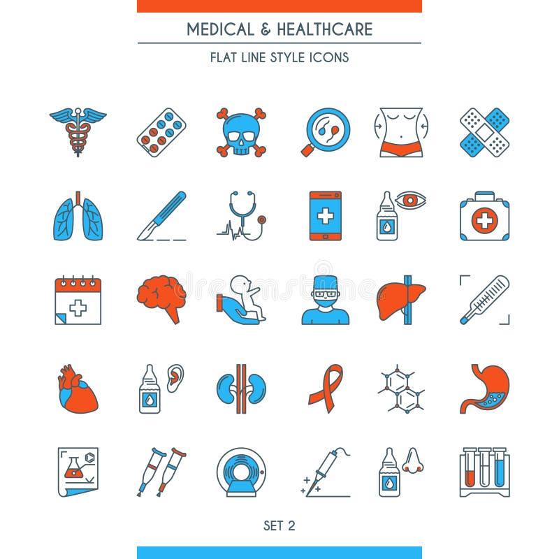 Vlakke medische pictogrammen 2 van het lijnontwerp vector illustratie
