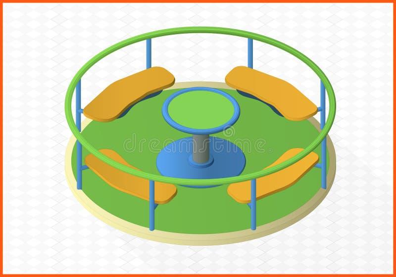 Vlakke mening van het carrousel de isometrische perspectief vector illustratie