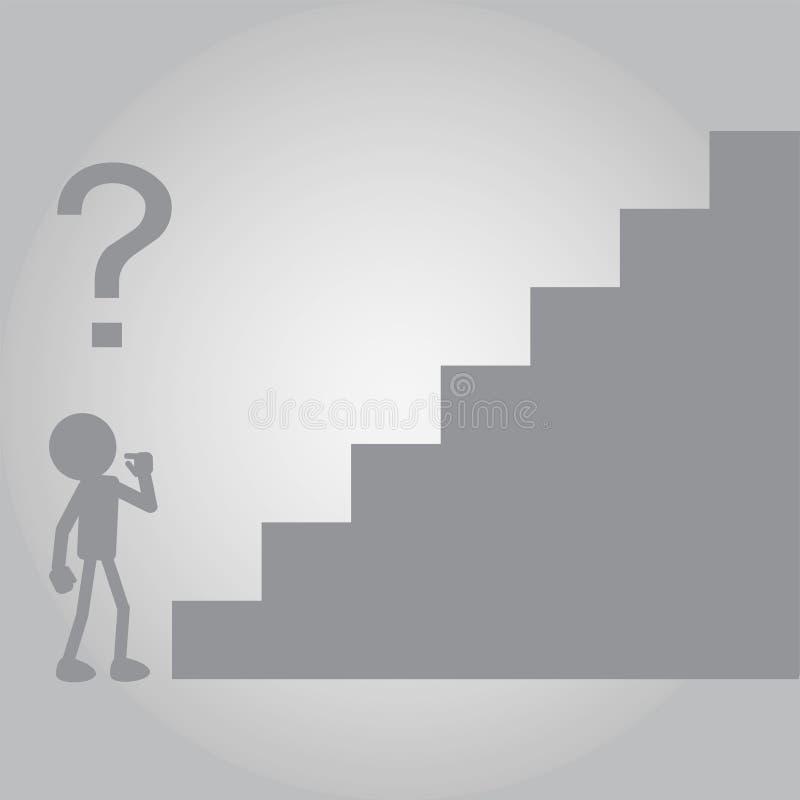 Vlakke Mens in Twijfel van Nieuwe Uitdagingen vector illustratie