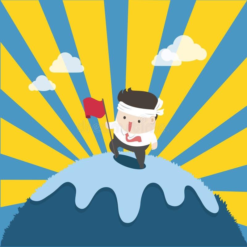 Vlakke mens van succes op hoogste berg stock illustratie