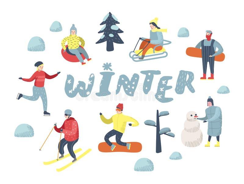 Vlakke Mensenkarakters op Gelukkige Vakantie Wintersporten Sledding, Snowboard, Ski stock illustratie