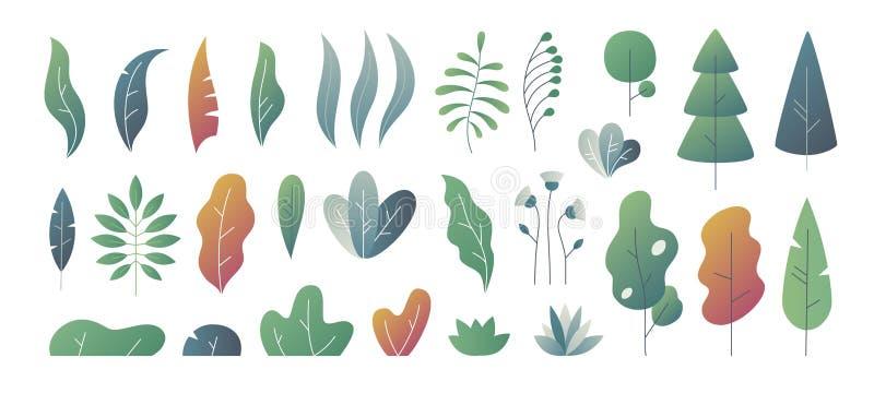 Vlakke minimale bladeren De fantasie kleurt gradatie, bladerenstruiken en bomenontwerpsjablonen, de installaties van de aardgradi stock illustratie