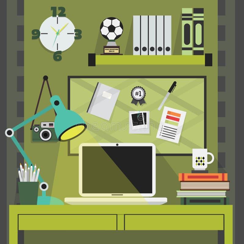 Vlakke, moderne, en modieuze groene werkende plaats stock illustratie