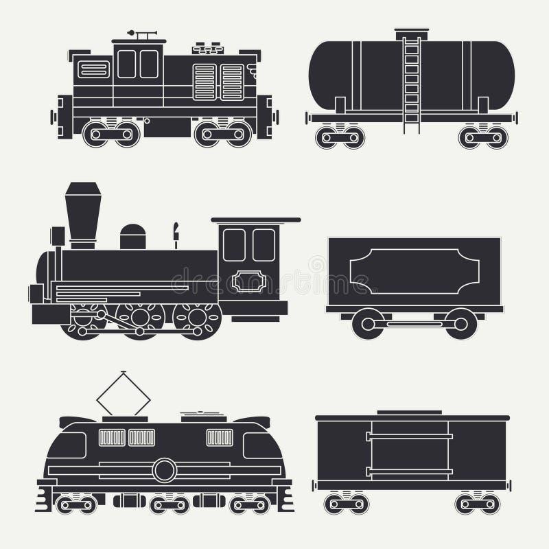 In vlakke moderne en uitstekende treinen met ladingswagens en geplaatste tankpictogrammen Stoom, diesel en elektrische locomotiev royalty-vrije illustratie
