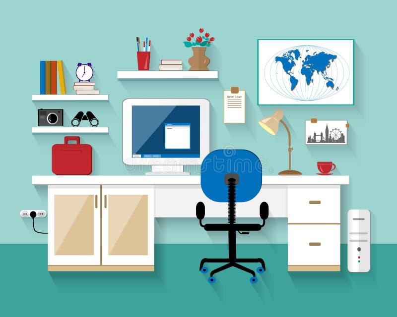 Vlakke moderne ontwerp vectorillustratie van werkplaats in ruimte ? het reative binnenland van de bureauruimte Minimalisticstijl  royalty-vrije illustratie
