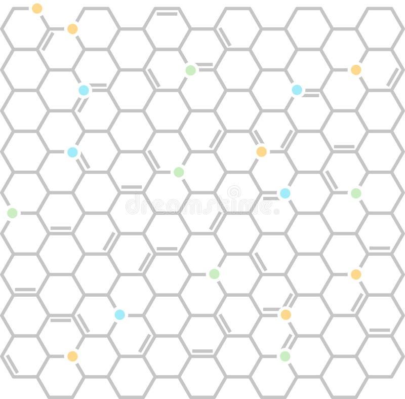 Vlakke moleculaire achtergrond in zachte kleuren Geometrisch en regelmatig stock illustratie