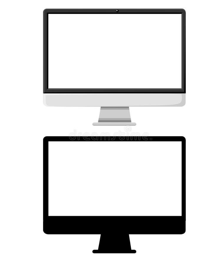 Vlakke monoblockillustratie en zwart silhouet AiOpc 3d sprekers Vector illustratie die op witte achtergrond wordt geïsoleerdd vector illustratie