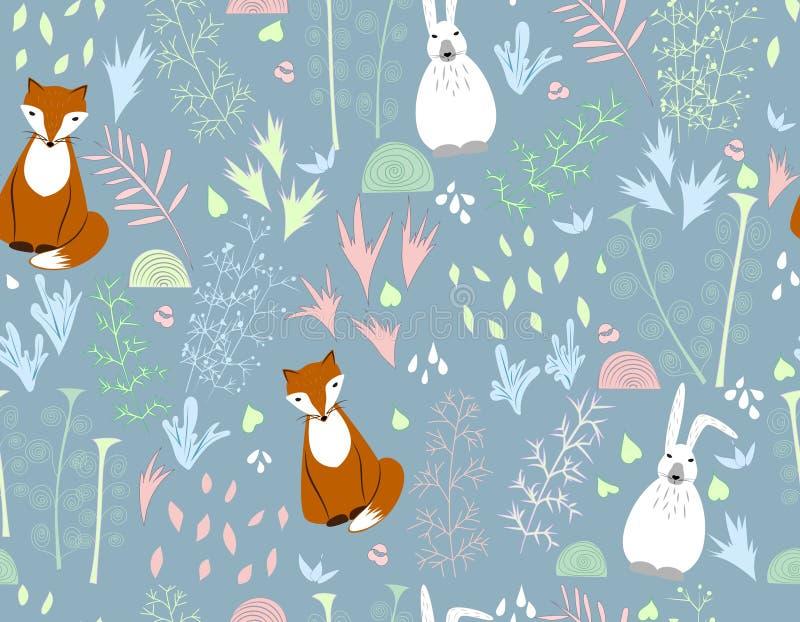 Vlakke naadloze vectorillustratie met bloemen en beeldverhaaldieren De vos, konijn, hazen Ornamenten, decoratieve ornamenten, royalty-vrije illustratie