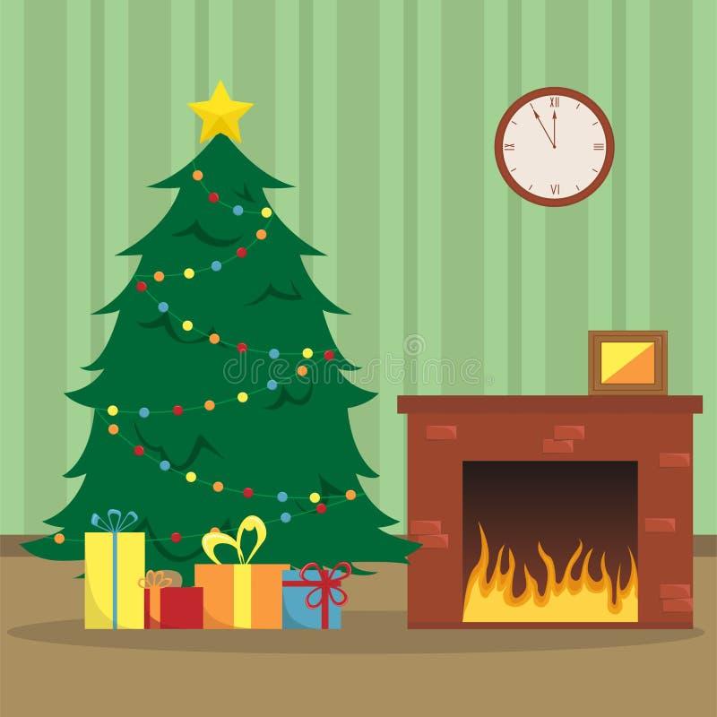 Vlakke Nieuwjaar` s vectorillustratie met een Kerstboom, stock illustratie