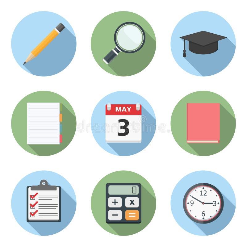 Vlakke onderwijspictogrammen stock illustratie