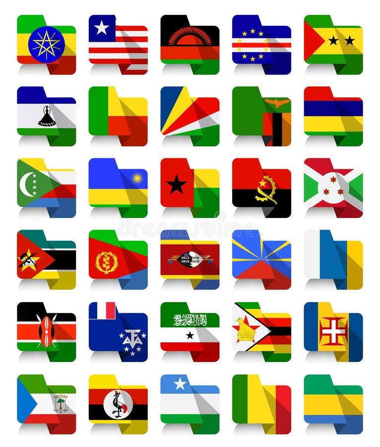Vlakke Ontwerp Afrikaanse Golvende Vlaggen 2 vector illustratie