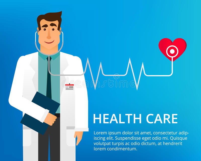 Vlakke ontwerp arts Knappe arts met stethoscoop en vele verschillende medische pictogrammen Cardioloog Dr Vector stock illustratie